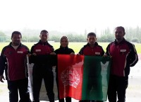 Some of Afghan national olympic team in UK